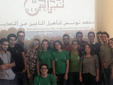 Campagne de sensibilisation</br>pour la lutte contre la Torture</br>avec les étudiants de la faculté</br>de médecine, à l'occasion de la</br>Journée Internationale de la Paix